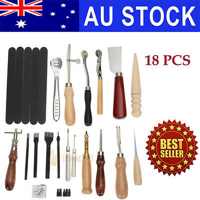 18X Leather Tools Craft Work Sewing Punch Kit Stitching Carving Saddle Groover
