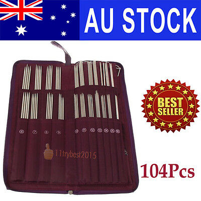 104Pcs Circular Straight Knitting Needle Double Crochet Hook Weave Pin Set W/Bag