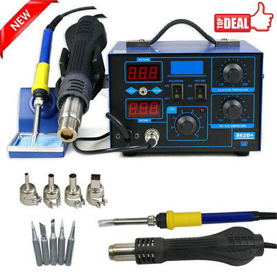 2in1 Soldering Rework Stations SMD Hot Air & Iron Desoldering Welder ESD 862D S
