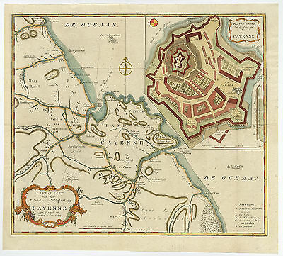 Antique Print-CAYENNE-FRENCH GUYANA-FORT-Tirion-c. 1760