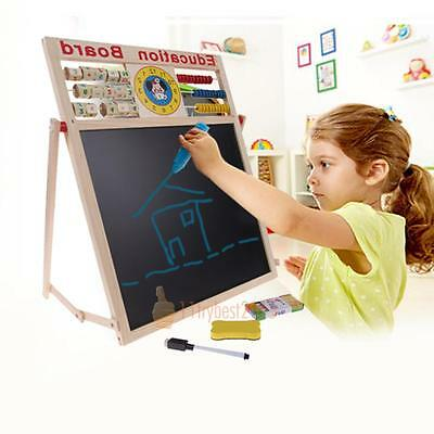 Baby Learning Drawing Writing Board Magnetic Puzzle Double Easel Wooden Kids Toy