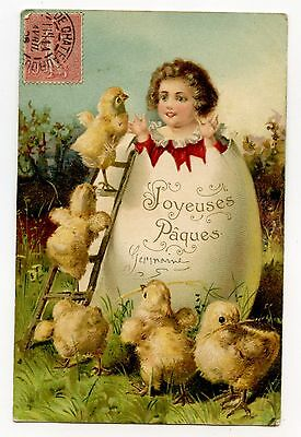 Jeune Fille.girl. Oeuf De Paques.easter Egg.poussins. Chicks.