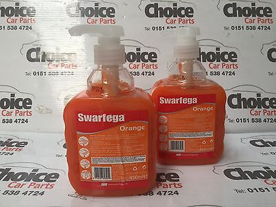 2 X 450ml Swarfega Orange Hand Pump Natural Cleaner Workshop Office Home Garage