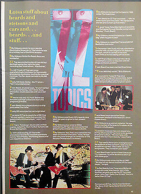 ZZ TOP - ORIGINAL 1 PAGE INFO ARTICLE FROM 1980s No1 MAGAZINE
