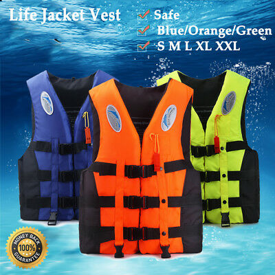 Polyester Adult Life Jacket Universal Swimming Boating Ski Vest+Whistle NEW UDQ