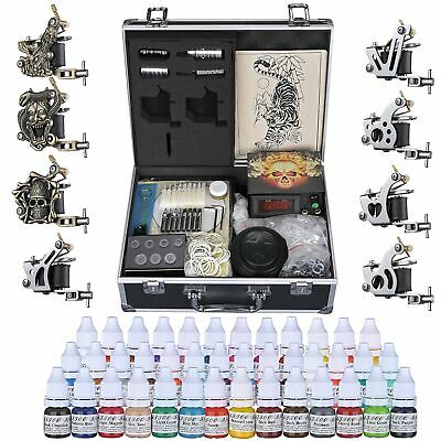 Complete Tattoo Kit 2 4 6 8 Machine Gun Power Supply 40 Ink Needles Set