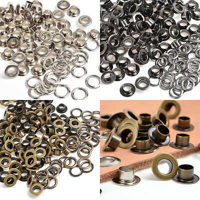 100 Black Silver Brass 8/10mm Eyelet w/Washer Grommet Fit Thickness Leathercaft
