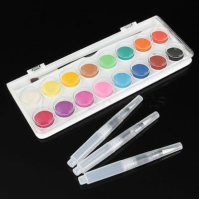 High Saturation Solid Cakes Watercolor 16 Colors+3pcs S/M/L Water Brush Ink Pens