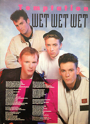 WET WET WET. TEMPTATION - 1 PAGE POSTER FROM 1980s No1 MAGAZINE. MARTI PELLOW