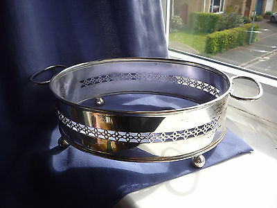 VINTAGE Silver Plated Chafing Stand Casserole Holder - Oval Chafer