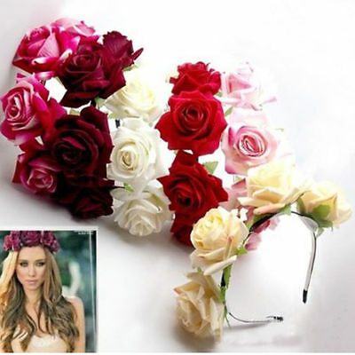 Rose Floral Flower Garland Crown Headband Headdress Hair Band Bridal Valentine