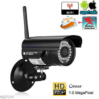720P 1MP CCTV WiFi IP Cámara ONVIF Video Vigilancia IR-CUT Exterior Inalámbrica