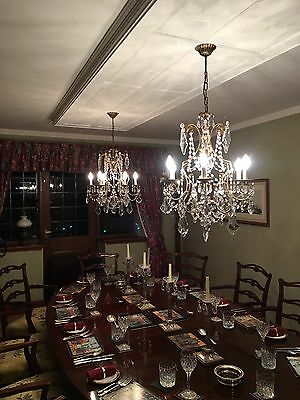 Pair Of Antique Cut Glass French Chandeliers