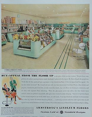 1937  PRINT AD ARMSTRONG'S LINOLEUM FLOORS inside Grauel's Market, Baltimore