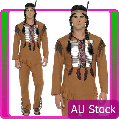 Mens Native Western Warrior Costume Indian Cowboys American Wild West Indians