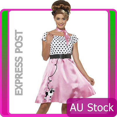 Ladies Rock n Roll Costume 50s Grease Poodle Dog Rockabilly Pink Fancy Dress