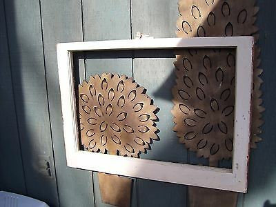 "Old Wood Window picture fram No Glass  27 1/2 ""x 15 3/4"" original lock on window"