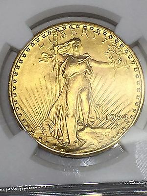 1924 St. Gaudens $20 Gold Coin Double Eagle NGC MS64