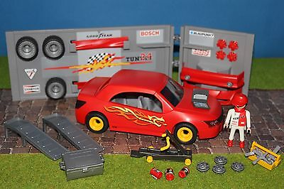 Playmobil Roter Tuning car mit Werkstadt     Top  Zustand