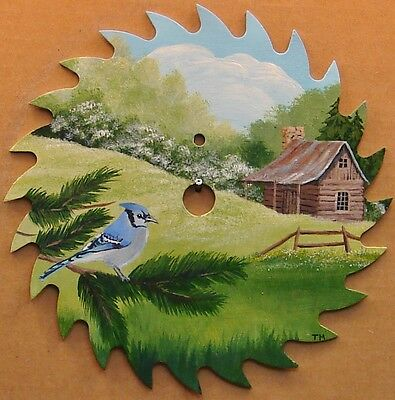 Hand Painted Saw Blade Blue Jay Log Cabin Lodge Hunting Country Decor