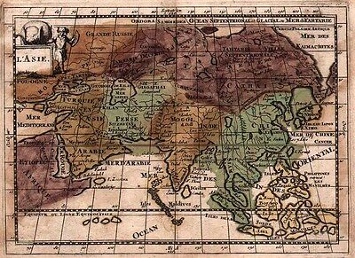 1700 Martineau Map of Asia with original color. Interesting & unusual details
