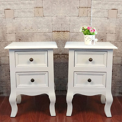 Pair Of Shabby Chic White Bedside Storage Unit Cabinet Nightstand 2 Drawer Table
