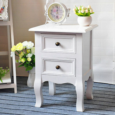 New 2 Drawer Bedside Table White Bedside Storage Unit Cabinet Shabby Chic Small