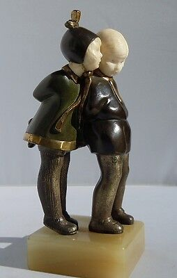 c1930 ALEXANDER KELETY ART DECO CHRYSELEPHANTINE GILT BRONZE GIRL BOY WHISPERING
