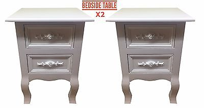 Pair Of White Rose Handle Shabby Chic Bedside Table Drawer Cabinet Unit New