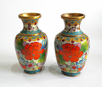 Chinese Cloisonne Enamel Small Vases Floral Design Gold Detail- Matching Pair