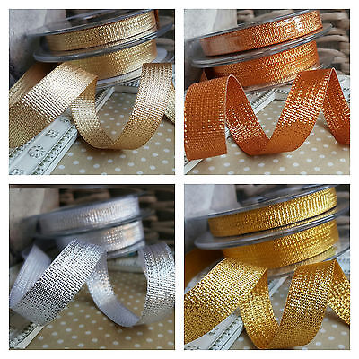 2M x 10mm, 15mm Textured Gold Silver Copper Metallic Ribbon. Christmas Sparkle