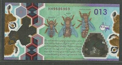 Poland Test Note Pwpw Honey Bee 013 Unc Radar Hh9696969 Red Serial Polimer