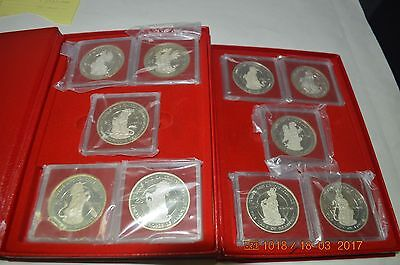 Turks and Caicos Queen's Beasts Silver Collection 1978 KM24-KM33