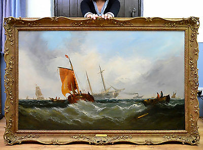 Huge Fine 19th Century Marine Seascape Oil Painting of Warship & Victorian Ships