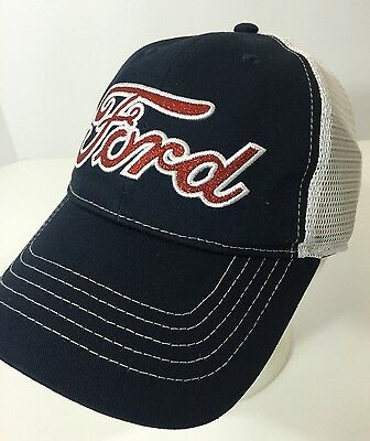 Ford Trucker Hat Mesh Cap StrapBack Navy Blue Red Sparkly Logo NWT