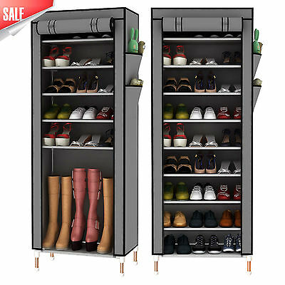 10 Tier 30 Pairs Shoe Rack Cabinet Stand with Grey Oxford Fabric Dustproof Cover
