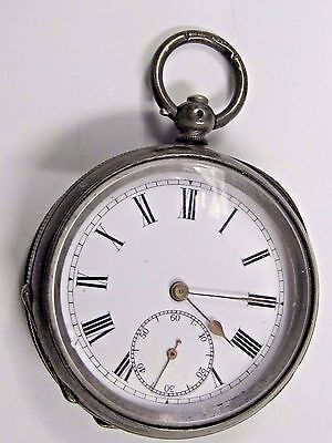 Antique 1800's No Name Silver 9.35, 2-Key wind Pocket Watch, 46 mm in size.