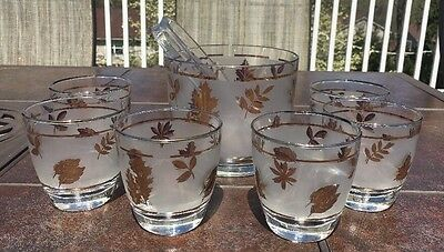 Vintage Libbey Ice Bucket With 6 Rock Glasses Gold Leaf Foliage Nice!