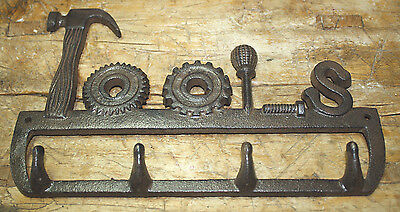 Cast Iron TOOLS Coat Hooks, Hat Hook, Key Rack Tool Hanger MAN CAVE Garage Barn