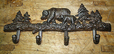 Cast Iron BEAR Towel Coat Hooks, Hat Hook, Key Rack Ranch Hunting Camp Decor