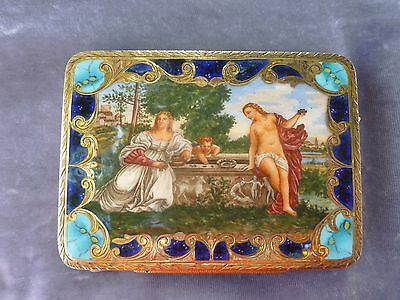Gorgeous Vintage 800 Silver Gilt And Enamel Compact W A Nude