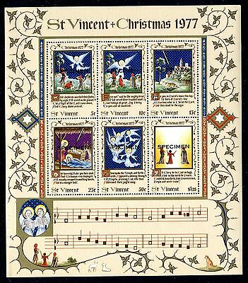 St Vincent 1977 Christmas MS opt Specimen MNH