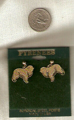 Great Pyrenees Goldtone Post Earrings Surgical Steel Jewelry