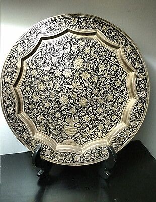 Big Persian Brass Engraved Birds and Flowers Hand Crafted Tray/Plate