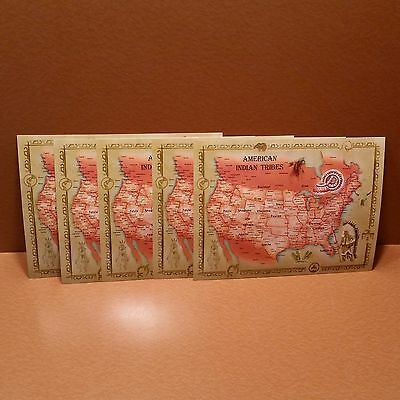 "Lot of (5) NEW Large 8.5"" x 11"" Postcards:  American Indian Tribes Map"