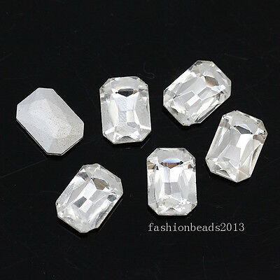 Clear rectangle pointed back foiled glass faceted crystal rhinestones jewels pk