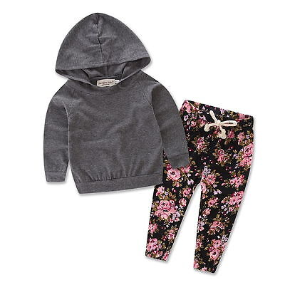US STOCK Newborn Baby Girl Clothes Hoodie Tops+Floral Pants Leggings 2Pcs Outfit