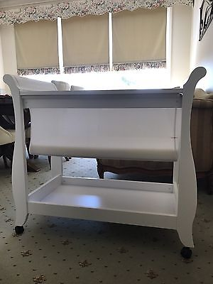 Boori Sleigh Bassinet White With Deluxe Mattress & Cover