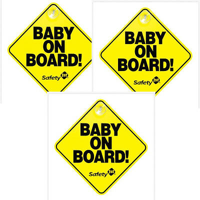 3 pc Safety 1st Baby On Board Sign Yellow Suction Cup Car Window Hanging Warning