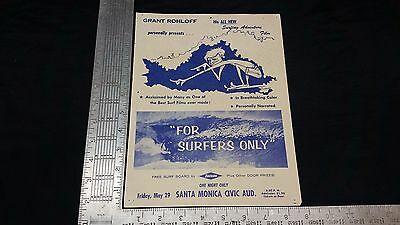 "Original 1964 Surf Movie Poster - FOR SURFERS ONLY - Grant Rohloff 11"" X 8.5"""